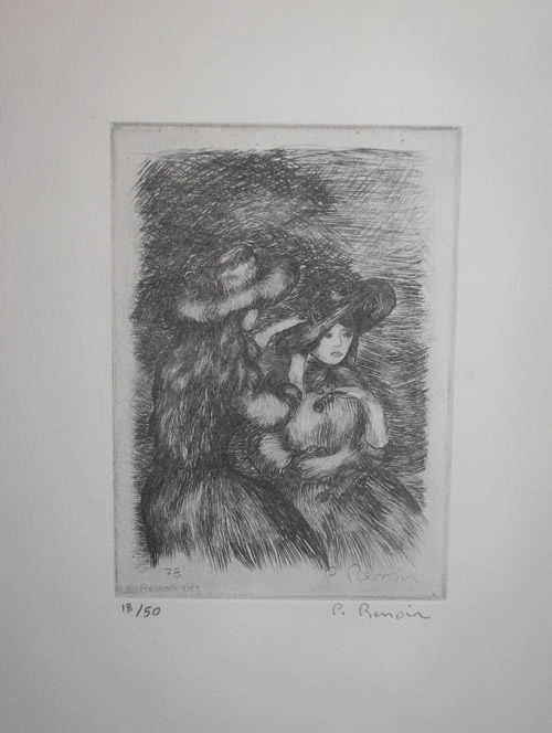 Pierre Roland Renoir Pierre Roland Renoir Drypoint Young Women with hats eBay